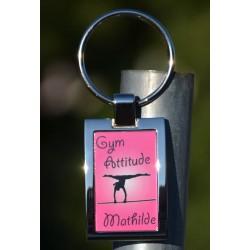 Porte clés metal brillant rose personnalisé