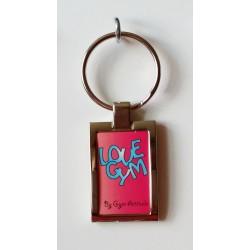 Porte clés métal brillant argenté love gym