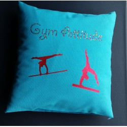 Coussin turquoise multi