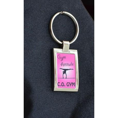 Porte clés metal brillant rose club