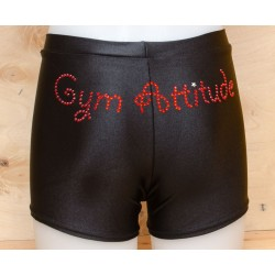 Short noir strass Gym Attitude rouge