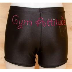 Short noir strass Gym Attitude fushia