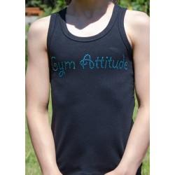 Débardeur noir strass Gym Attitude turquoise