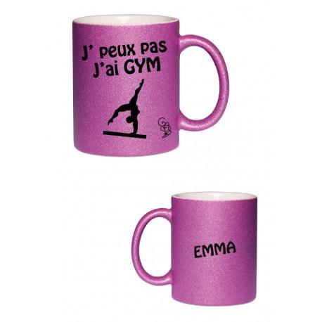 Mug pailleté j'peux pas j'ai gym